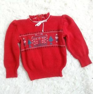 Red cross stitch baby ruffle crew gathered sleeve